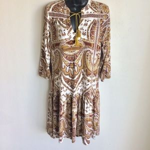 Next Bohemian Dress Ruffled Sleeves Hem Sz 10 EUC